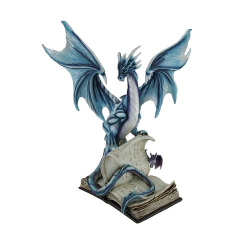 Curious-Blue-Dragon-and-Drake-Studying-Giant-Book-of-Magic-Statue-19-in.